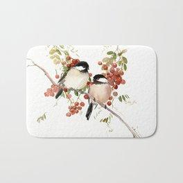 Chickadee Bird Vintage Bird Artwork Bath Mat