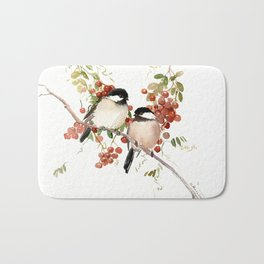 Chickadee Bird Vintage Bird Artwork, two birds, chickadees woodland design Bath Mat