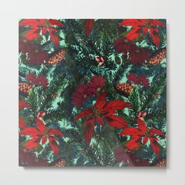 Poinsettia and Pine Metal Print