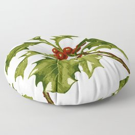 Holly Christmas Red Berry Floor Pillow