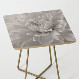Monochrome chrysanthemum close-up Side Table