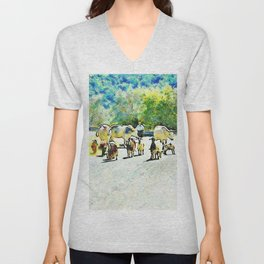 Shepherd with cows and goats on the road Unisex V-Neck