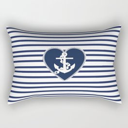 Modern navy blue white heart anchor nautical stripes Rectangular Pillow