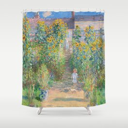 French Impressionist Landscape of Sunflower Farm by Claude Monet Shower Curtain