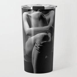 7457-MAK Submissive Nude Woman Collar Erotic Black & White Beautiful Naked Woman  Travel Mug