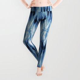 Blue Satin Shibori Argyle Leggings