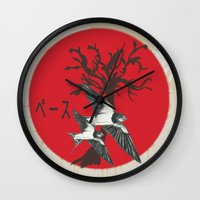 swallow Wall Clocks featuring Swallow by Sekhmet