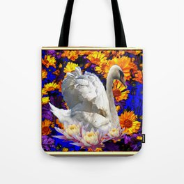 WHITE SWAN YELLOW-BLUE FLOWERS  MODERN ART Tote Bag