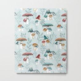 Mushroom Forest, Fungi Illustration, Watercolor Nature, Whimsical Mushrooms, Organic Metal Print