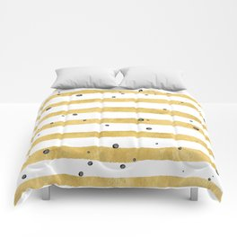 Modern hand painted yellow gold black watercolor splatters stripes Comforters