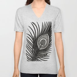 Intricate Peacock Feather Unisex V-Neck