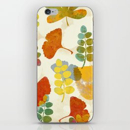 leaves pattern painterly gingko nature warm tones iPhone Skin
