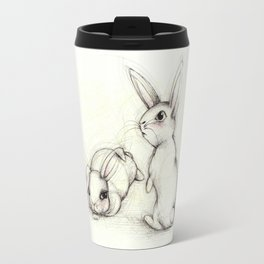 The lazy and the aware bunny friends Travel Mug