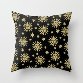 Mid Century Modern Sun and Star Pattern Black and Gold Throw Pillow