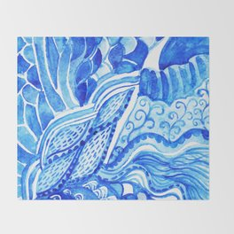 watercolor blue composition Throw Blanket