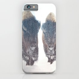 Two Bison in a Snow Storm iPhone Case