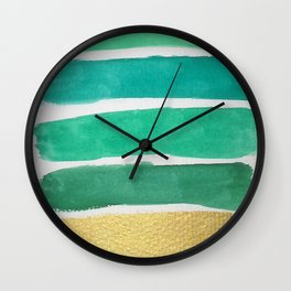 Gold and Green Stripes Wall Clock