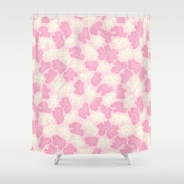 Frosted Animal Cookies on Pink Shower Curtain