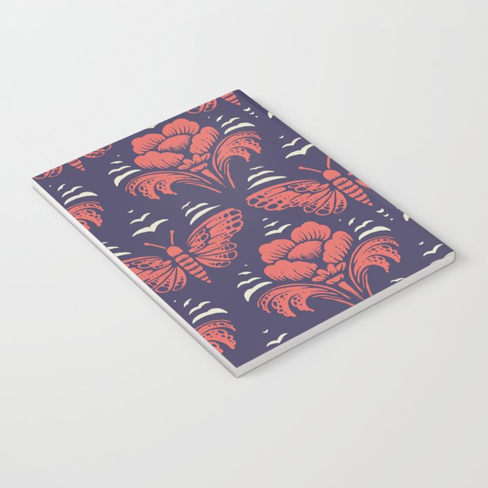 butterfly damask (stark) Notebook