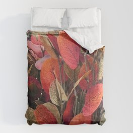 Autumn Leaves in Rustic Red And Fall Colors Comforters