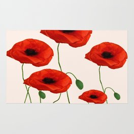 GRAPHIC RED POPPY FLOWERS ON WHITE Rug