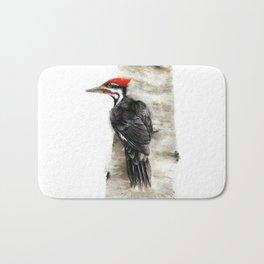 Pileated Woodpecker Watercolor Bath Mat