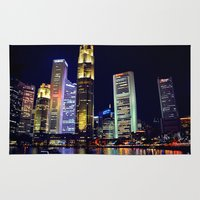 singapore Area & Throw Rugs featuring Singapore Skyline by Mark Bagshaw Photography