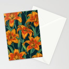 Orange lily flowers Stationery Cards