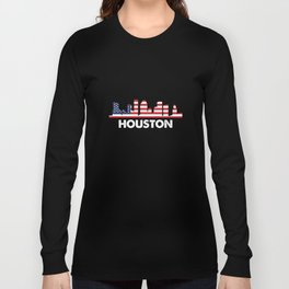 Houston City American Flag Shirt, 4th of July shirts Long Sleeve T-shirt
