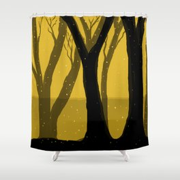 Magical Forest in Gold Shower Curtain