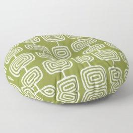 Mid Century Modern Atomic Rings Pattern Olive Green Floor Pillow
