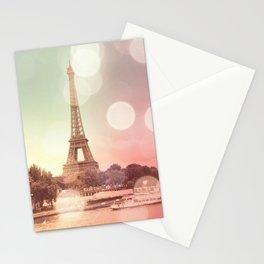 Paris Eiffel Tower Warm Bokeh Stationery Cards