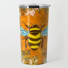 Bumblebee In Wild Rose Wreath Travel Mug