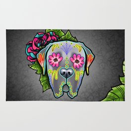 Mastiff in Grey - Day of the Dead Sugar Skull Dog Rug