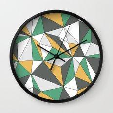 Geo - orange, green, gray and white. Wall Clock