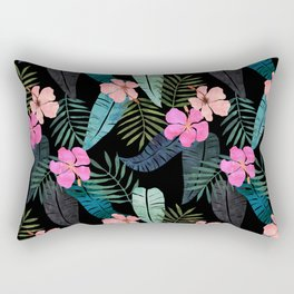 Island Goddess Tropical Black Rectangular Pillow