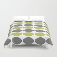 mid century modern Duvet Covers featuring Mid-Century Modern Abstract Ovals by Kippygirl