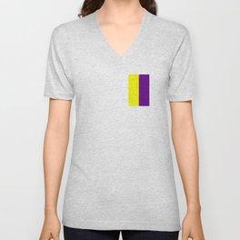 Team Colors 7..purple,yellow, white Unisex V-Neck