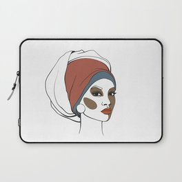 African American woman in headscarf with makeup. Abstract face. Fashion illustration Laptop Sleeve