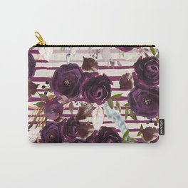 Watercolor ivory purple burgundy brown floral stripes Carry-All Pouch