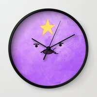 lumpy space princess Wall Clocks featuring Adventure Time - Lumpy Space Princess by hannahclairehughes