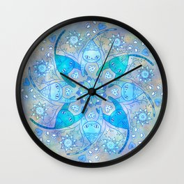 Love Cats Mandala in Blue Wall Clock