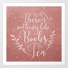 Books & Tea + Pink Art Print