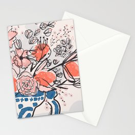 Oranges and Pink Peony Bouquet in Dutch Delft Blue Vase Stationery Cards