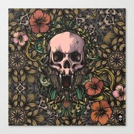 Skull in jungle Canvas Print