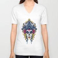 dia de los muertos V-neck T-shirts featuring Dia de los Muertos by merci