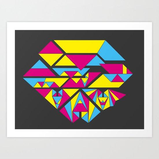 Bat origami Art Print