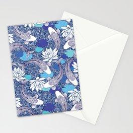 Blue Koi Ripples fish Pattern Stationery Cards