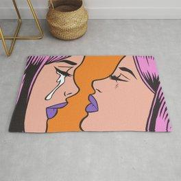 Two Crying Comic Girls Rug