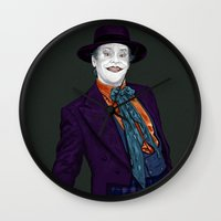 jack nicholson Wall Clocks featuring JACK NICHOLSON by zinakorotkova